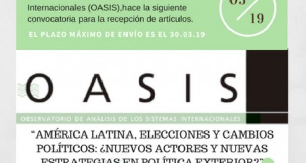La Revista OASIS, indexada a FIGRI, abre convocatoria para la recepción de artículos académicos